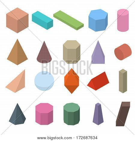 Set of 3D geometric shapes. Isometric views. The science of geometry and math. Colorfull objects isolated on white background. Flat style. Vector illustration.
