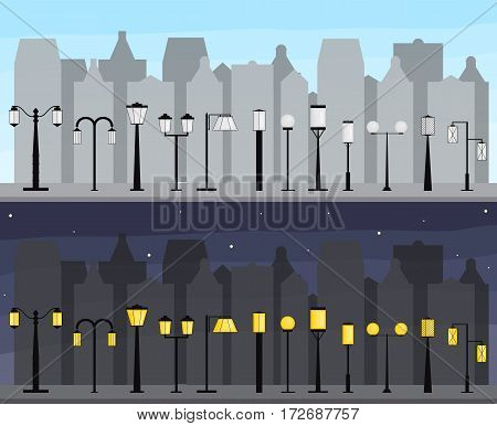 Panorama Of The City. Set of streetlights. Illumination of the town. Silhouettes of buildings at night and day. Electric light lamps. Vector illustration.