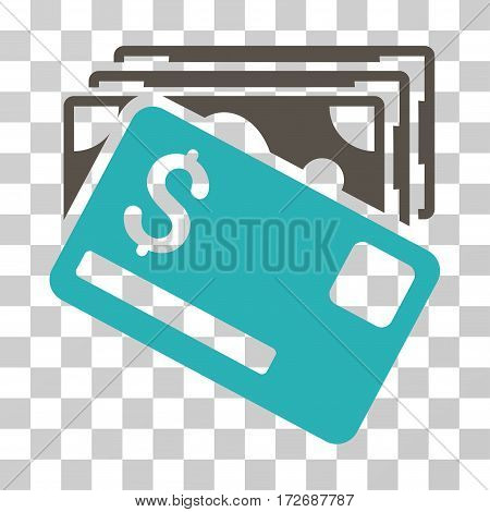 Banknotes And Card icon. Vector illustration style is flat iconic bicolor symbol grey and cyan colors transparent background. Designed for web and software interfaces.