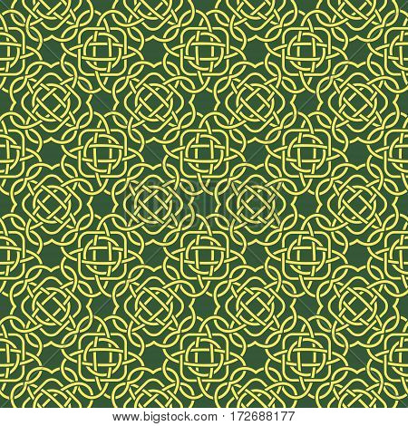 Clover Seamless Pattern In Celtic Style. St. Patrick's Day Endless Repeat Backdrop In Green And Yell