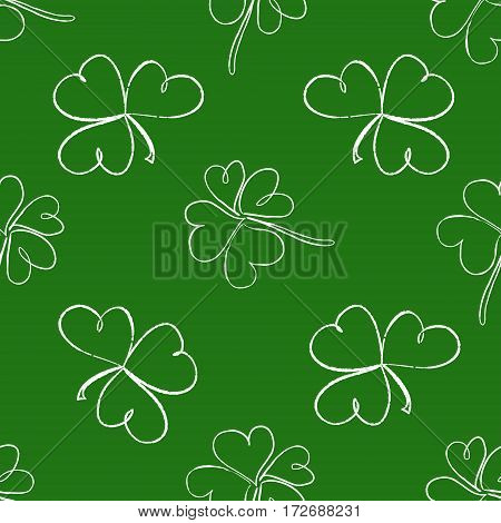 Clover Seamless Pattern. Clover Pattern With Three And Four Leaf White On Green Background. St. Patr