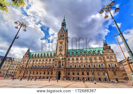 Front view of the famous town hall in Hamburg Germany in sunny summer day