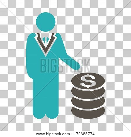 Businessman icon. Vector illustration style is flat iconic bicolor symbol grey and cyan colors transparent background. Designed for web and software interfaces.