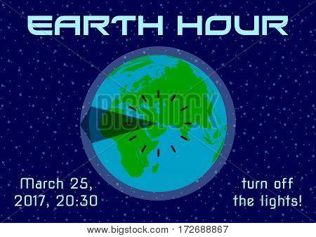 Earth Hour - global annual international event. Planet Earth with time clock on background of night starry blue sky in flat style. Vector illustration