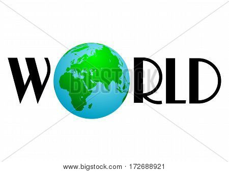 Earth globe in composition of word World on white background. Vector illustration