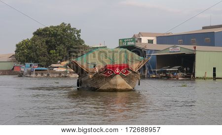 Transport by shp on Mekong delta river. Viet Nam