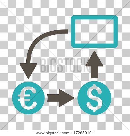 Cashflow Euro Exchange icon. Vector illustration style is flat iconic bicolor symbol grey and cyan colors transparent background. Designed for web and software interfaces.