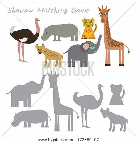 Ostrich elephant giraffe hippopotamus hyena leopard isolated on white background, Shadow Matching Game for Preschool Children. Find the correct shadow. Vector illustration