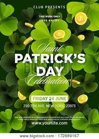 St. Patrick s Day green beer party invitation poster. Clover leaf or lucky shamrock with flying golden coins . Vector Illustration.