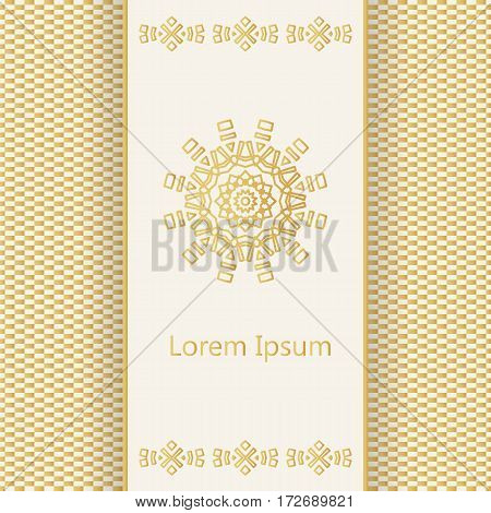 Vector Banner With Logo And A Background In Geometric Style In Golden Colors. Template For Restauran
