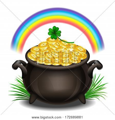 St.Patrick's Day background with Pot Of Gold Magical Treasure St. Patrick's Day symbol. Vector illustration