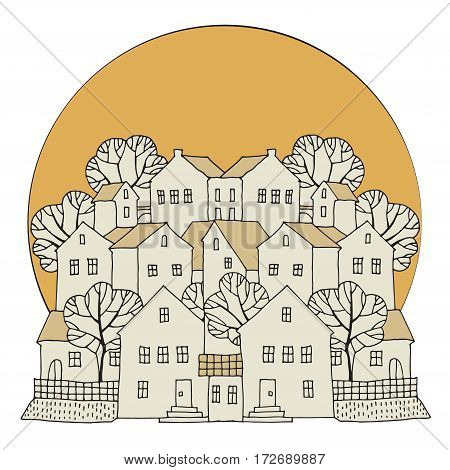 Cartoon hand drawing color houses vector illustration
