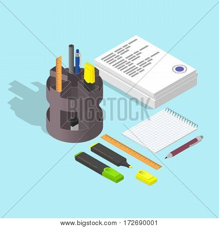 Stack of papers. The stamp on the document. Blank Notepad. Pen and pencil. Highlighter. Flat isometric. Working concept. Vector illustration.