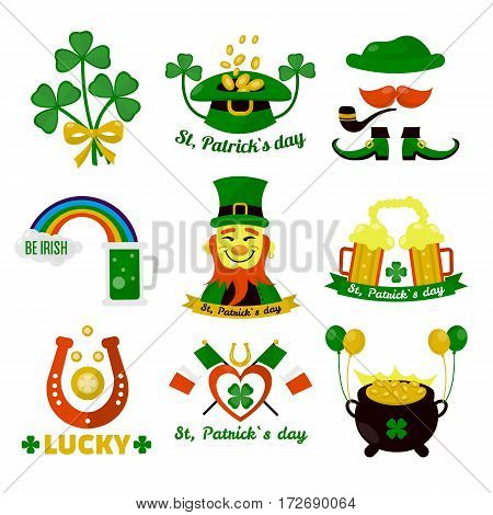 Symbols of Ireland flag and horseshoe luck. Saint Patrick day Irish holiday feast icons. Vector set of lucky shamrock clover leaf, green ale beer with rainbow, leprechaun elf hat with gold coins pot.