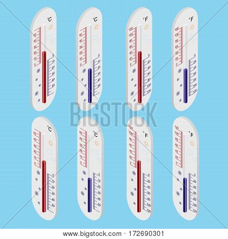 Outdoor thermometer. Isometric view. Celsius and Fahrenheit degree. The temperature meter. The scale degrees. Vector illustration.
