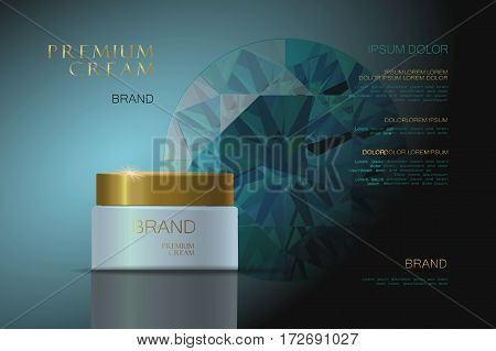 3d realistic vector background cosmetic ads Premium Cream. blue packaging for cosmetics. skin care. vector illustration