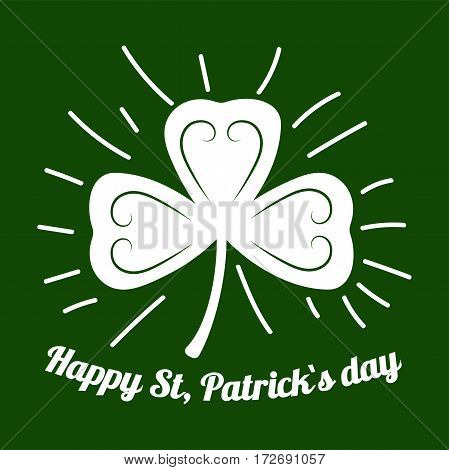 Lucky symbol or logo for Irish holiday greeting card design element and text template. Happy Saint Patrick shamrock or four-leaf clover leaf.