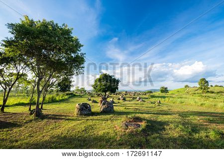 The Prehistory of Laos - Plain of Jars. Xieng khouang, Laos
