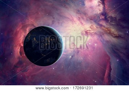 Earth with great Orion nebula in universe. 3D render / illustration.