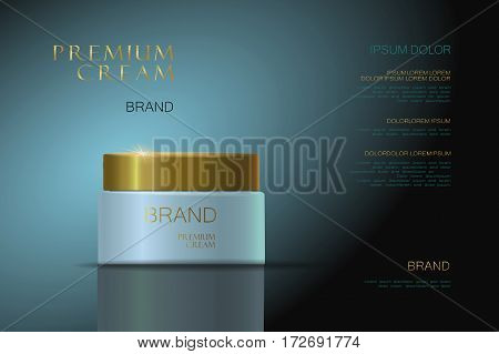 3d realistic vector background cosmetic ads Premium Cream. blue gold packaging for cosmetics. skin care. vector illustration