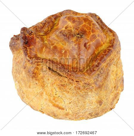 Rustic crusty handmade savoury pork pie isolated on a white background