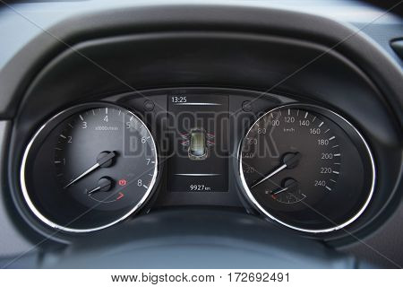 view of instrument panel of modern car
