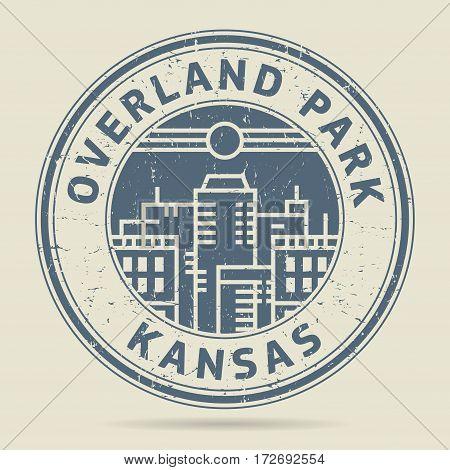 Grunge rubber stamp or label with text Overland Park Kansas written inside vector illustration