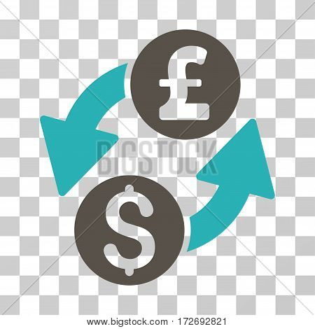 Dollar Pound Exchange icon. Vector illustration style is flat iconic bicolor symbol grey and cyan colors transparent background. Designed for web and software interfaces.