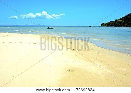 Nosy Be  Beach Seaweed   Indian Ocean Madagascar  People   Boat  Rock