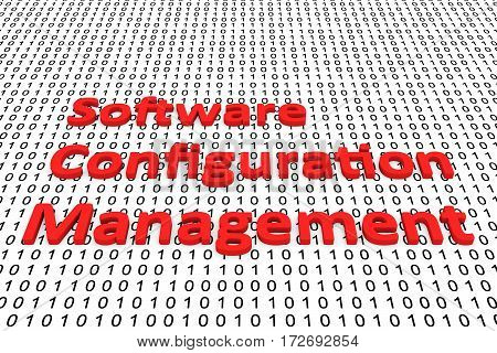 software configuration management in the form of binary code, 3D illustration