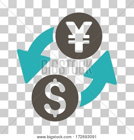 Dollar Yen Exchange icon. Vector illustration style is flat iconic bicolor symbol grey and cyan colors transparent background. Designed for web and software interfaces.