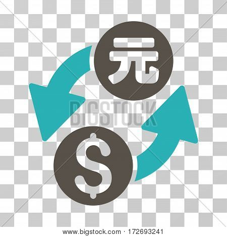 Dollar Yuan Exchange icon. Vector illustration style is flat iconic bicolor symbol grey and cyan colors transparent background. Designed for web and software interfaces.