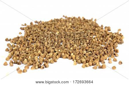 Buckwheat. Buckwheat on white background. Buckwheat texture. Buckwheat pattern. Buckwheat background.