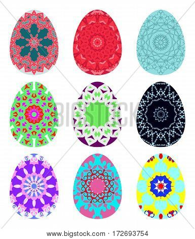Set Of Bright Colorful Eggs Decorated With Patterns. Collection Of Easter Symbols Isolated On White