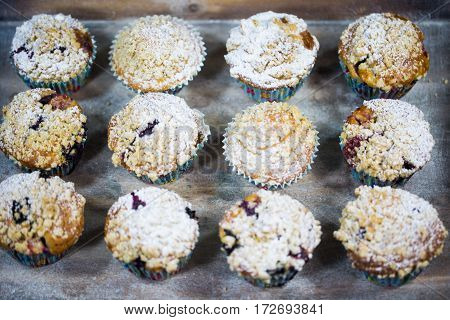 Homemade muffins with blueberries cake american crumble