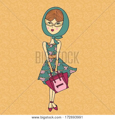 Vector illustration of a beautiful fashion girl in sunglasses, printed dress, gloves and shawl with bag. Glamorous lady on color background