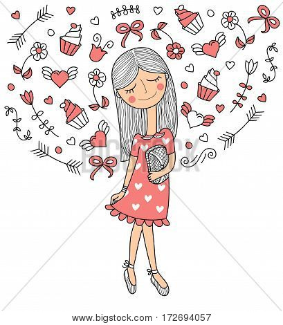 Vector illustration of a beautiful fashion girl in cute dress with bag. Glamorous lady on white background