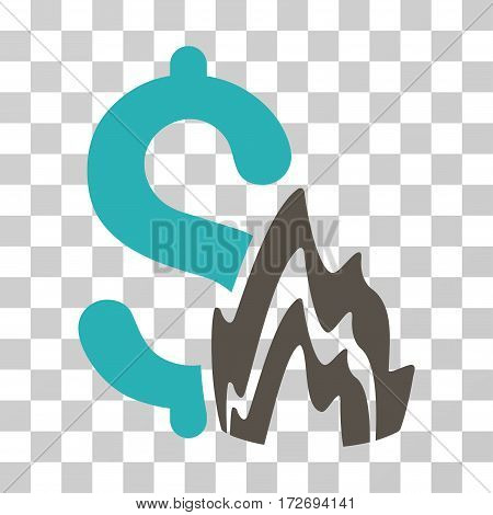 Fire Disaster icon. Vector illustration style is flat iconic bicolor symbol grey and cyan colors transparent background. Designed for web and software interfaces.
