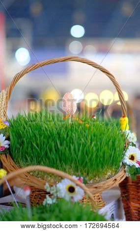 Easter baskets with grass at market