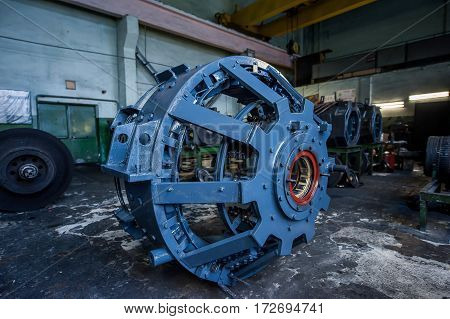 large metal generator power plant close-up industry