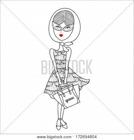 Vector illustration of a beautiful fashion girl in sunglasses, printed dress, gloves and shawl with bag. Glamorous lady on white background