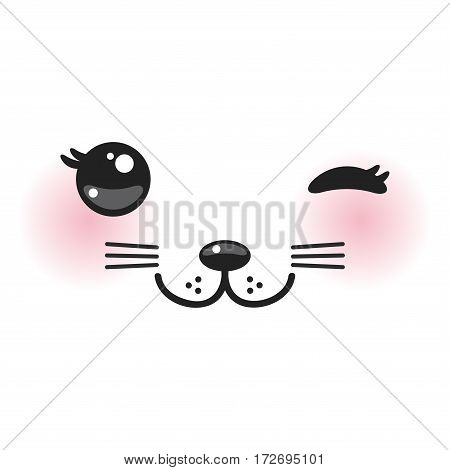Kawaii funny cat muzzle with pink cheeks and winking eyes on white background. Vector illustration