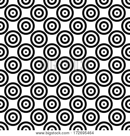 Abstract background seamless mosaic of concentric circles in diagonal arrangement. Retro design vector wallpaper.