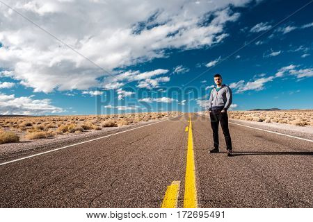Man at open highway in California, USA.