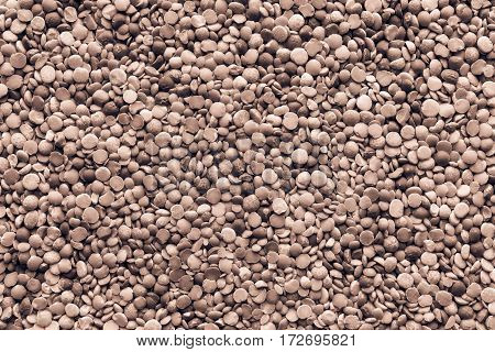 background and texture of dried shredded peas of monochrome tone of brown color