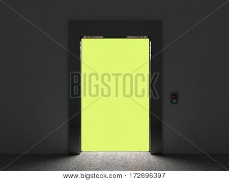 Realistic Open Empty Elevator With Half Open Door 3D Render