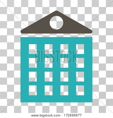 Multi-Storey House icon. Vector illustration style is flat iconic bicolor symbol grey and cyan colors transparent background. Designed for web and software interfaces.