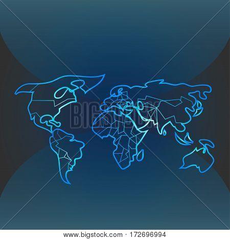 Blue contour worldmap on the dark background