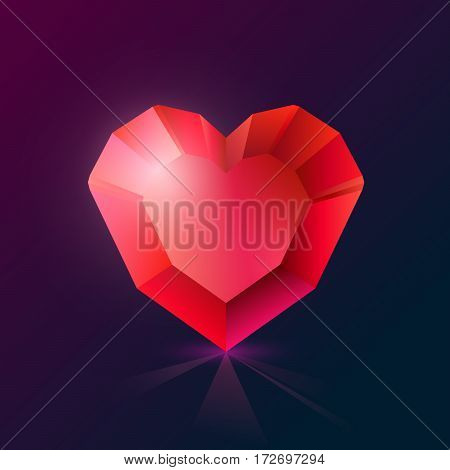 Realistic red crystal heart-shaped on a dark background..