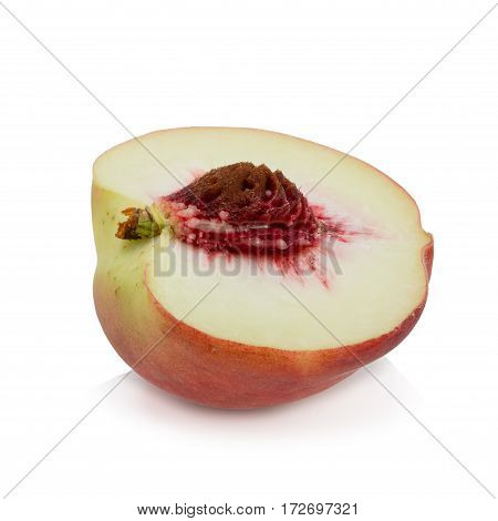 Peaches. Ripe fresh peaches with half and slice isolated on white background